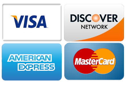 We accept Visa, Mastercard, American Express, and Discover.